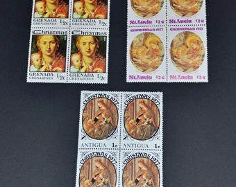 Christmas stamps 3 blocks of 4 mint MNH 1977 B124 St Lucia