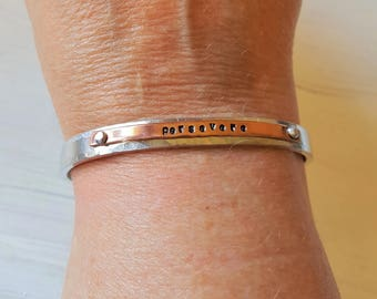 Persevere Aluminum and Copper Riveted layered Cuff Bracelet  Made in Michigan UP
