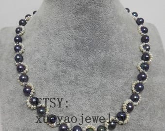 Pearl Necklace- baroque pearl necklace,black pearl necklace, 2 strands 2-9 mm white & black freshwater pearl necklace