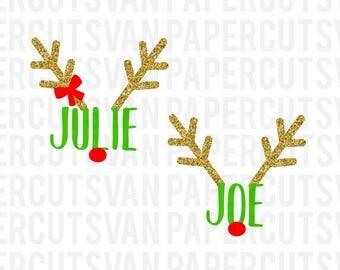 REINDEER NAMES SVG //  Matching Christmas svg // Sibling Christmas outfit // Twin Christmas  reindeer Svg // Silhouette - Cameo