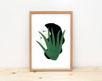 Girl and cactus - illustration by depeapa, print, poster, A4 wall art, wall decor