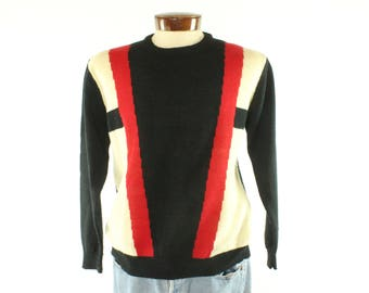 Vintage 80s PLAYBOY Sweater Pullover Red Black Long Sleeve Shirt 1980s Large L Mens