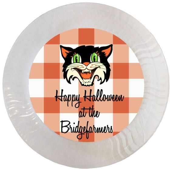 Il_570xn  sc 1 st  Catch My Party & Personalized Orange Gingham Vintage Halloween Mask Plastic Plates ...