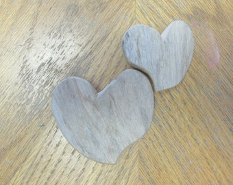 Two Handcrafted Driftwood Heart Shaped Cut Outs Wooden Hearts Love