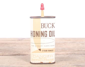 Vintage Buck Honing Oil / Antique Knife Oil / Metal Oil Can / Hunting Decor / Camping Decorations / Old Fishing Decor / Outdoor Decor