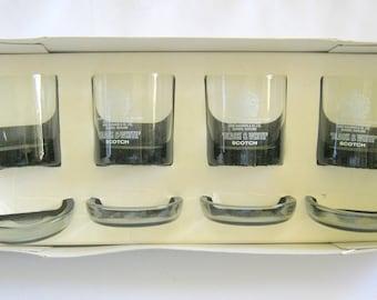 Black and White SCOTCH HIGHBALL & Matching Coaster/Ashtrays GLASS 8 piece Set Mint in Box
