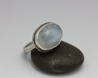 Rainbow Moonstone Ring, Rose Cut Moonstone, Moonstone & Sterling Ring, Flashy Fire, Size 6