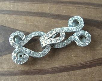 Vintage Crystal Rhinestone Hook & Eye Buckle Silvertone 2 inch (1)