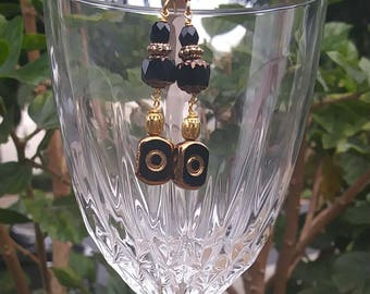 Beaded Black and Gold Glass Earrings