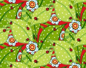 """SUMMER SALE Fat Quarter (18""""x22"""") ONLY - Bugapalooza Ladybugs on Red from In The Beginning Fabrics"""