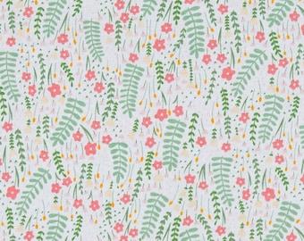KNIT Fabric - White Secret Garden from Dear Stella Design's Fresh Dew Collection by Paula Waffle