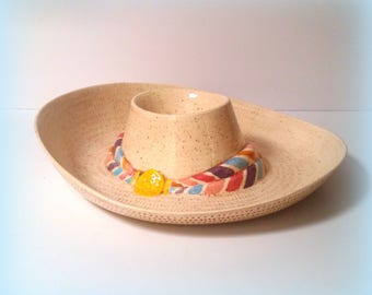 70s Chip and Dip Sombrero - Glazed Ceramic - True-to-Life Woven Texture and Band - Party Ready