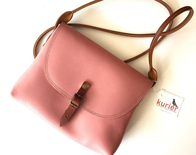 Pink KARINA crossbody leather bag