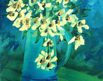 50% off SALE French Pitcher with Flowers, Original Hand Painted Oil Painting. Size 6 x 6 canvas
