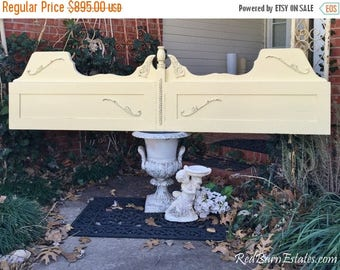 50% OFF CLEARANCE Wood KING Size Headboard Painted Distressed Shabby Chic  - Reclaimed Antique Furniture Oak