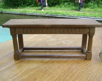 1/12th scale miniature Tudor or later narrow side table with turned legs