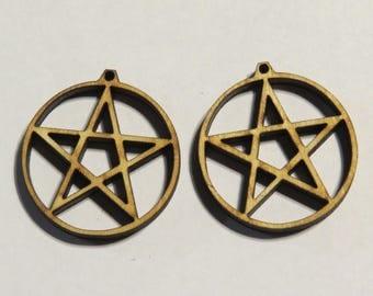 12 pcs Pentacle Earring Findings -Ornament - Pendant -Laser cut pentacle design