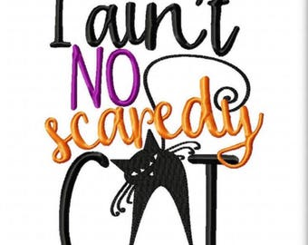 I aint no scaredy cat - Girl's holiday - Halloween Applique Shirt - Girl's Halloween Shirt - Holiday Designs - Monogrammed Shirt