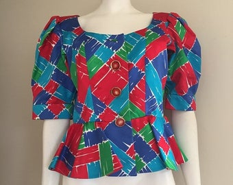 Yves Saint Laurent / YSL / Peplum Top / 80s / High Fashion