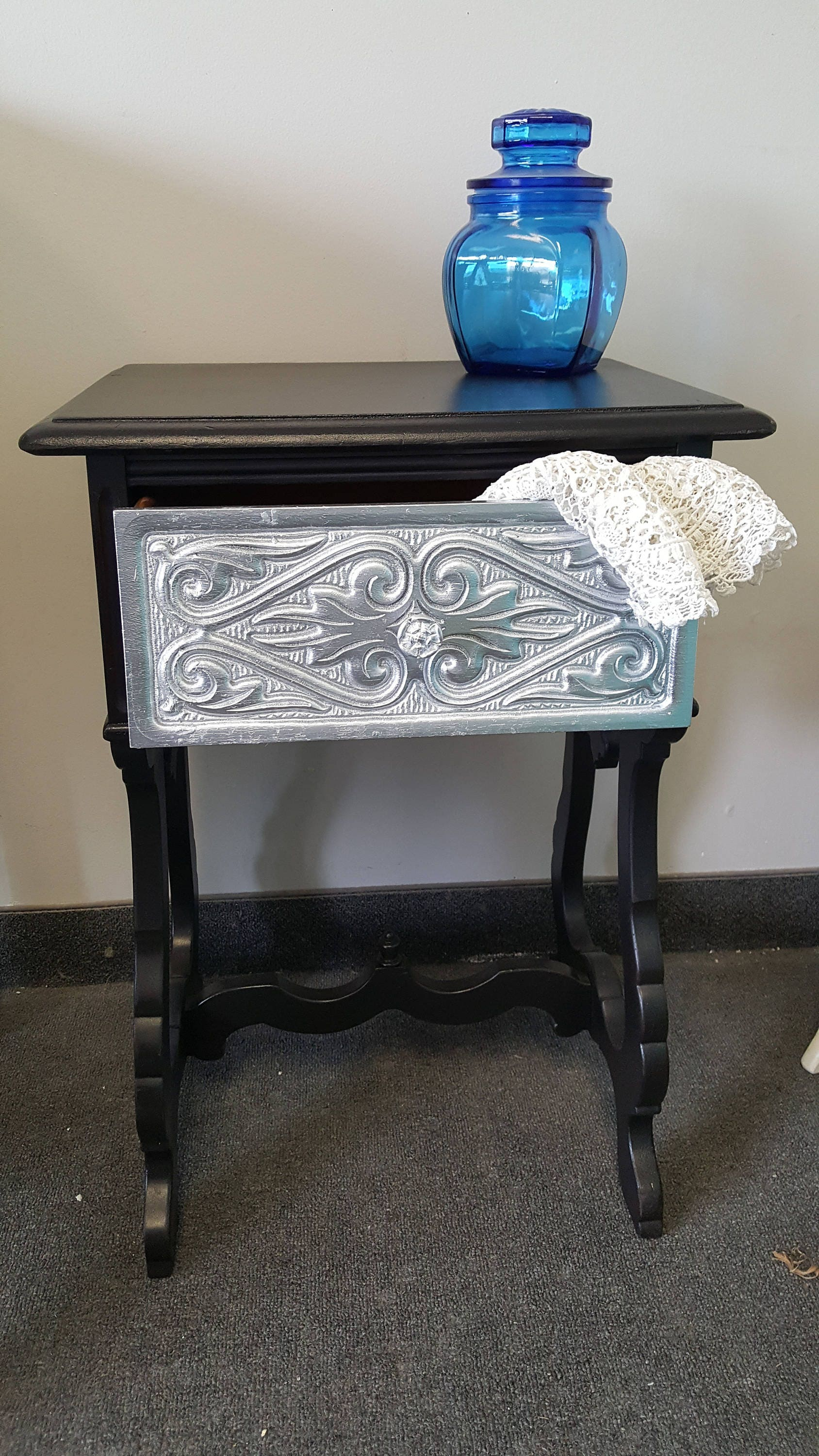 Vintage carved Shabby chic black & silver metallic table PICK UP