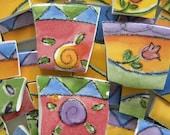 SUE ZIPKIN Broken China Mosaic Tiles - Recycled Designer Plates - 125 Tiles - Last Set