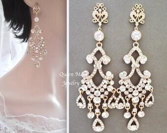 """Gold chandelier earrings, 4"""" Long, Gold crystal wedding earrings, Gold Brides earrings, Gold crystal statement wedding earrings, ABRI"""