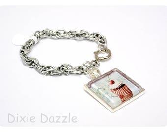 Cherry cupcake charm bracelet, dessert charm, silver charm bracelet, multilink chain, square charm, handmade glass charm, cherry on top