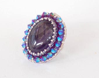 Summer sale -15% Ring,  Bead embroidery,   Seed beads jewelry,  Fashionable jewelry,  Amethyst gemstone, Silver, Lilac, Violet