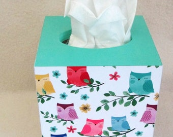 Tissue  Cover -  Tissue Box Cover - Kleenex Box - Wood  Box Cover - Owl Tissue Box Cover -  Gift