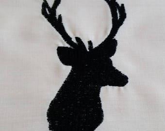 Deer Head Embroidered Quilt block