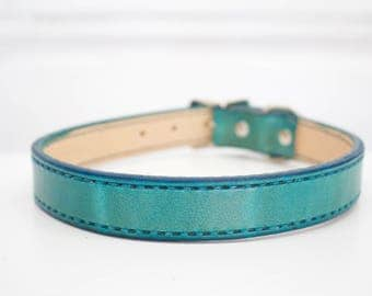 Large Custom Leather Dog Collar with Lining - Turquoise Leather Dog Collar - Boy Leather Dog Collar - Girl Leather Dog Collar - Personalized
