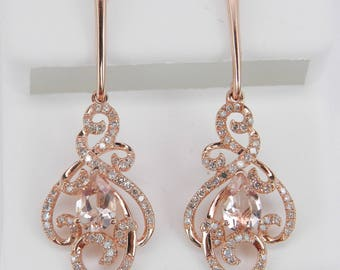 Morganite and Diamond Dangle Drop Earrings Rose Pink Gold Unique Gemstone Gift