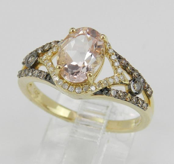 Morganite and Fancy Diamond Engagement Ring 14K Yellow Gold Size 7 Pink Aquamarine