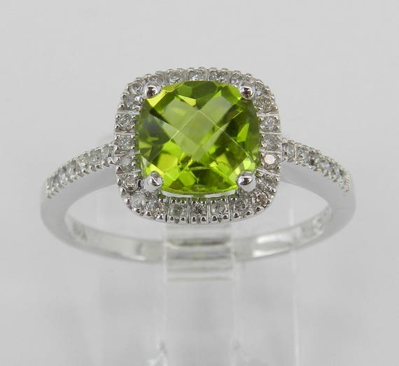 Cushion Cut Peridot and Diamond Halo Engagement Ring White Gold Size 7 August Gem