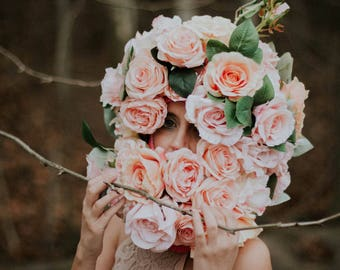 BLUSH PINK Flower Mask Head - Wedding Photo Props - Bride and Groom Photo - Fashion Style