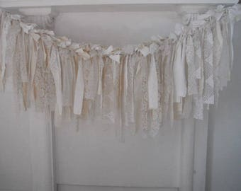 aged rag garland cottage chic coffee stained garland french country wedding decor nursery decor photo prop tattered garland - 4 feet x 19""
