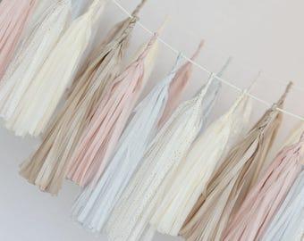DIY tassel garland - Custom color Tissue paper tassel  garland - wedding party decorations - buntings- backdrop- birthday decor