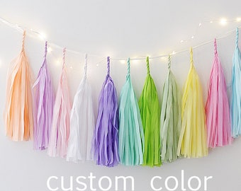 Tissue paper tassel  garland - Custom color -  fully assembled-wedding party decorations -buntings- backdrop - fringe garland -nursery decor