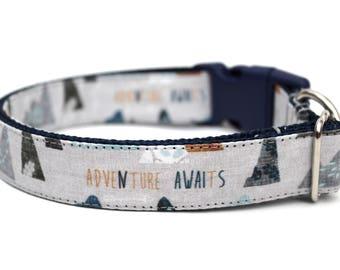 "Boy Dog Collar 3/4"" or 1"" Adventure Dog Collar Mountain Dog Collar Outdoors Dog Collar"