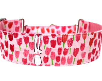 "Spring Dog Collar 2"" wide Martingale Dog Collar for Large Breed Dogs Pink Dog Collar Easter Dog Collar"
