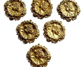 Centerpiece Lady Medallion, 6 Pieces, Floral Border, Vintage Brass, Brass Maiden, Gingerbread Patina Brass, B'sue Boutiques, 22mm, Item03218