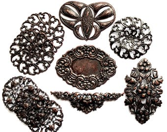 Brass Filigree, 10 Piece, Beading Filigree, Floral Design, Jewelry Parts, Jewelry Making, Rusted Iron, Us Made, 35 and 49mm, B'sue,Item03478