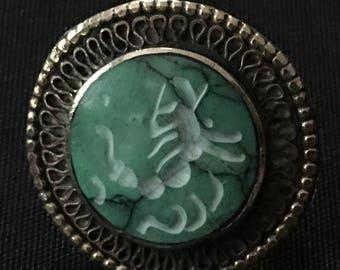 Kuchi Tribal RING Carved SCORPION Green Theater Dance Costume Jewelry Uber Kuchi®