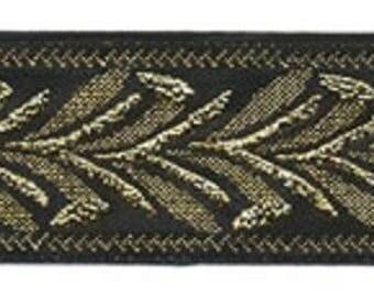 Jacquard Ribbon, 1 inch wide black/gold price for 1 yard