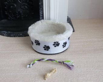NEW Dollhouse Dogbed with Pawprints for Small Breeds in 1:12  Scale for Miniature Roombox or Pet Store