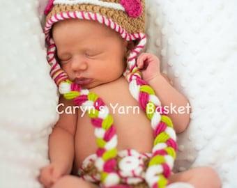 Newborn Baby Girl Gingerbread Christmas Hat, Newborn, 0-3, 3-6, Photography Prop - READY TO SHIP