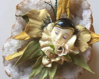 Ooak made in france statement brooch venetian carnival