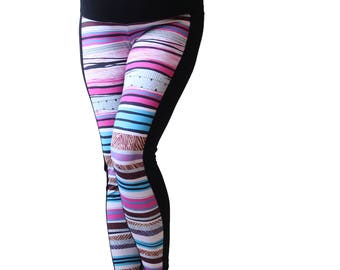 Maternity Leggings over Belly pink, Black, White, Blue Stripes Leggings, Maternity Wear Collection, Expecting a baby