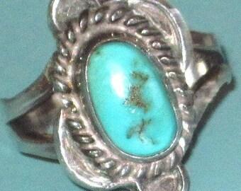 Repair Vintage Southwest Tribal 925 Sterling Silver Turquoise Size 8 Ring (REPAIR AS IS )