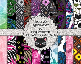20 Digital Girly Patterns 003 - INSTANT DOWNLOAD
